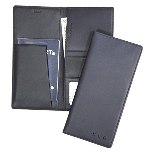 Royce Leather Passport Ticket Holder, Blue, One Size