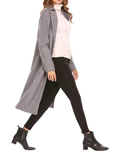 (Soteer Women's Open Front Full Length Wool Winter Coat Plus , Grey, Small)