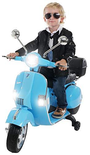 Actionbikes Motors Kinder Elektroroller Vespa PX150 - Lizenziert - 2x18 Watt Motor - Eva Vollgummi Reifen - Fernbedienung (Bl