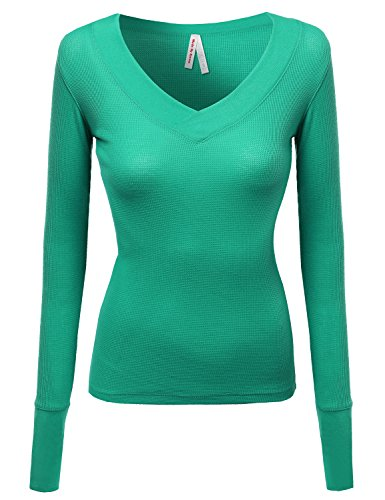Basic Solid V-Neck Henley Lace Long Sleeves Thermal Tee Mint L