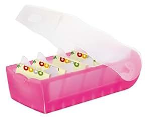 Han Croco 997-663 - Caja para archivar fichas (capacidad para 900 fichas DIN A7, polipropileno, 121 x 85 x 246 mm, color rosa transparente