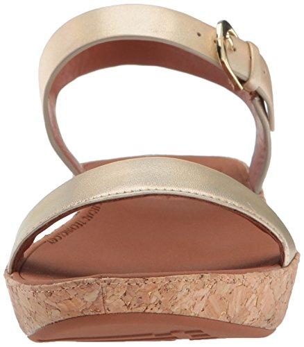 Fitflop Donna Bon Ii Sandalo Con Tacco Posteriore Con Cinturino Color Oro Iridescente