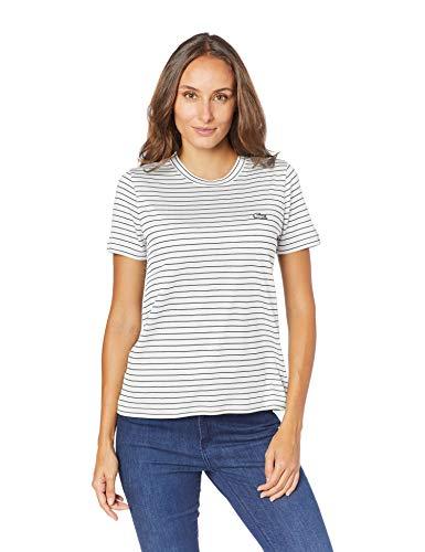 Camiseta, Lacoste, Feminino, Branco/Azul Marinho, G