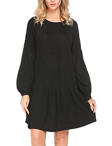 Justrix Womens Loose Casual Retro Lantern Long Sleeve Knit Ruffle Hem Swing Dress (Womens Black Knit Ruffle Dress)
