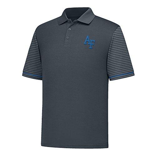 J America NCAA Air Force Falcons Men's Linebacker Ii YB Dyed Color Bock Polo Shirt, Medium, Charcoal/Royal