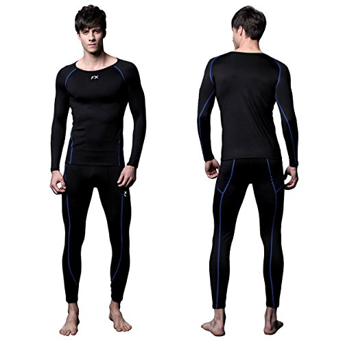 FITEXTREME Mens MAXHEAT Soft Fleece Long Johns Thermal Underwear Set Black L - Fleece Thermal Underwear