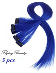 Amazon blue hair extensions extensions wigs blue clip in human hair extensions straight blue clip pmusecretfo Choice Image