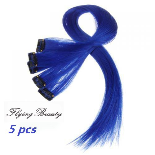 (Blue Clip in 100% Real Human Hair Extensions Straight Blue Clip on Highlights Hair Extensions 5 Pieces/set 18 Inch Color Blue)