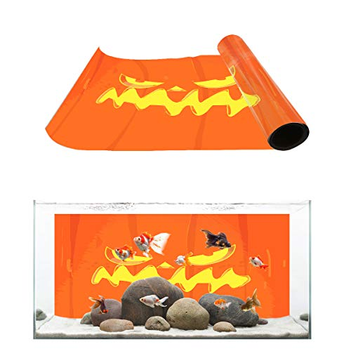 Fantasy Star Aquarium Background Halloween Evil Pumpkin Fish Tank Wallpaper Easy to Apply and Remove PVC Sticker Pictures Poster Background Decoration 24.4