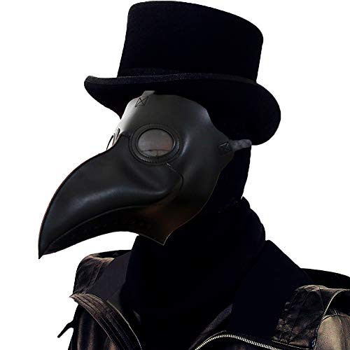 Lubber Plague Doctor Bird Mask Gothic Cosplay Retro Steampunk Props for Halloween Costume (Simple Black) for $<!--$12.99-->
