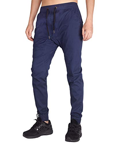 ITALY MORN Men's Chino Jogger Sweatpants Casual Pants S Navy Blue