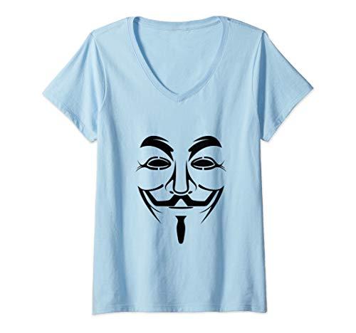 Guy Halloween Ideas (Womens Guy Anonymous Fawkes Mask Shirt Halloween Gift Idea V-Neck)
