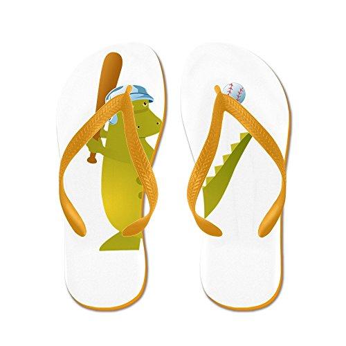 4 Sandal Reptile - Truly Teague Women's Baseball Playing Dinosaur Orange Rubber Flip Flops Sandals 4-5.5