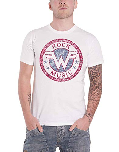 Weezer T Shirt Rock Music Distressed Band Logo Official Mens White Size M