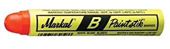 "Markal B-Paintstik Solid Paint Ambient Surface Marker, 11/16"" Diameter, 4-3/4"" Length, Red (Pack of 12)"