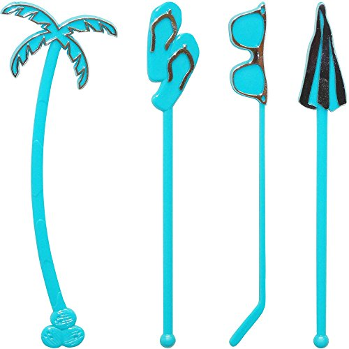 Royer 6 Inch Plastic Tropical Summer Beach Swizzle Sticks, Drink Stirrers, Assortment, Set of 24, Turquoise/Stamped Silver - Made In USA