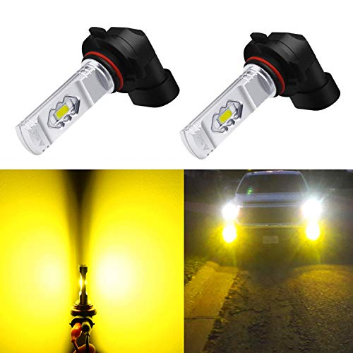 Alla Lighting 9145 H10 LED Fog Light Bulbs 3800lm Xtreme Super Bright H10 9145 LED Bulbs 9145 Fog Light ETI 56-SMD LED 9145 Bulb Auto Car Truck 9140 9045 H10 9145 LED Fog Light - 3000K Amber Yellow