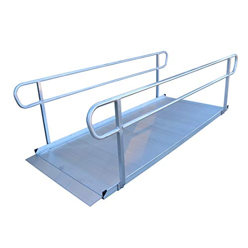 Titan 10 Foot Aluminum Wheelchair Entry Ramp with Handrails Complies with CA Building Code