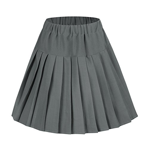EXCHIC Women High-Waisted Pleated Mini Skirts Solid Dance Dress (XXL, Grey)