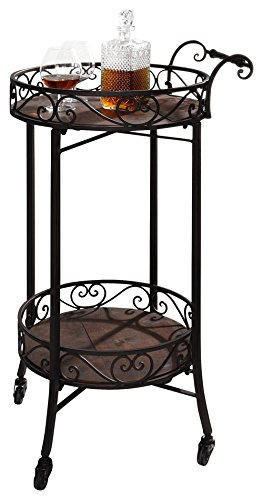 Glass Top Serving Cart - Dark Brown 2-Tier Portable Metal Kitchen Serving Cart / Wine Bar w/ Casters Product SKU: HD223571