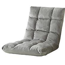 Jiyaru Adjustable Floor Chair Folding Cushion Lounger Gaming Padded Lazy Sofa Grey S