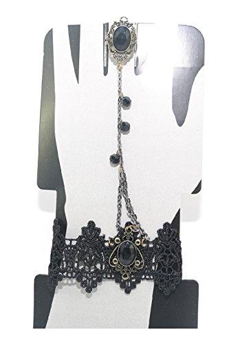 Ganz Halloween Glamorous Gothic Jewelry Lace Wrist to Ring Bracelets (Design 1) ()