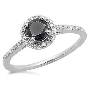 0.60 Carat (ctw) 10K White Gold Round Cut Black & White Diamond Ladies Bridal Engagement Halo Style Ring (Size 5)