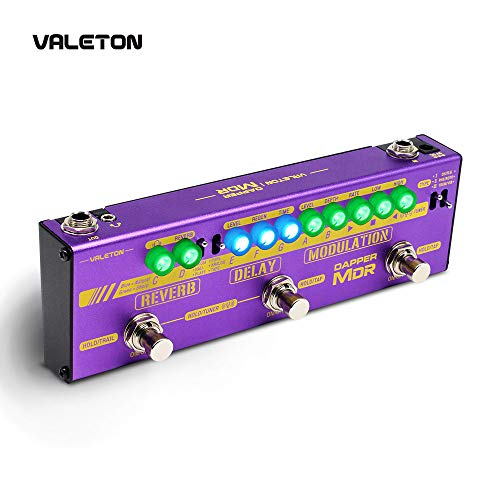 Valeton Multi Effects Guitar Pedal Dapper MDR of Reverb Delay Chorus Phaser Vibrato Tremolo Flanger Digital Analog Tape Delay Room Hall Plate Reverb for Indie Ambient Psychedelic Post Rock Retro Alter (Best Plate Reverb Pedal)