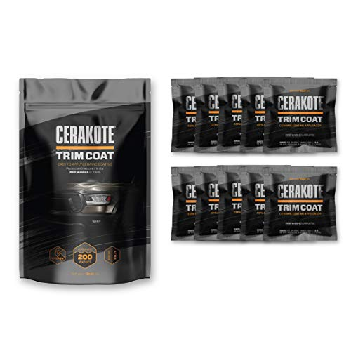 CERAKOTE Ceramic Trim Coat Kit - Each Plastic Trim Restorer Kit Includes 10 Extra Large Wipes. Guaranteed to Last 200 Washes. (Ceramic Coat)