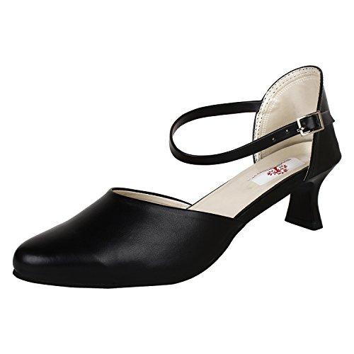 AUTHENTIC VOGUE Women's Office Wear Black Heel Sandal