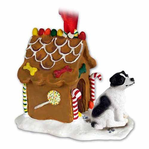 - JACK RUSSELL TERRIER Dog Black/White Smooth NEW Resin GINGERBREAD HOUSE Christmas Ornament 105B