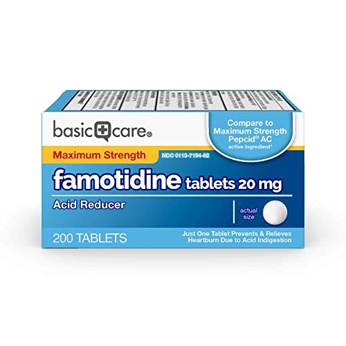 Basic Care Maximum Strength Famotidine Tablets, 20 mg, Acid Reducer for Heartburn Relief, 200 Count