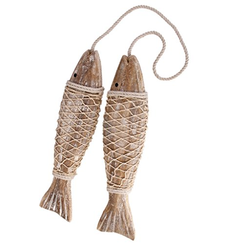 - DYNWAVE Set of 2 Antique Wood Fish Decor Ornament Wall Hanging Wooden Fish Decorations for Home Nautical Theme