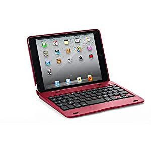 New 2 in 1 Smart iPad Mini 3/2/1 Wireless Bluetooth Keyboard Cover Case (Red)