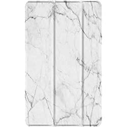 TNP Slim Case for All-New Amazon Fire 7 Tablet (7th Generation, 2017 Release), Ultra Lightweight Slim Shell Standing Cover with Auto Wake / Sleep (Marble White)