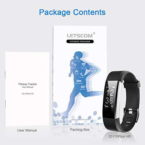 Large Product Image of LETSCOM Fitness Tracker HR, Activity Tracker Watch with Heart Rate Monitor, Waterproof Smart Fitness Band with Step Counter, Calorie Counter, Pedometer Watch for Kids Women and Men