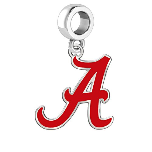 University of Alabama Crimson Tide Sterling Silver Logo School Color Bead Charm Fits All European Style Charm Bracelets (Alabama Pendant Sterling Silver Jewelry)