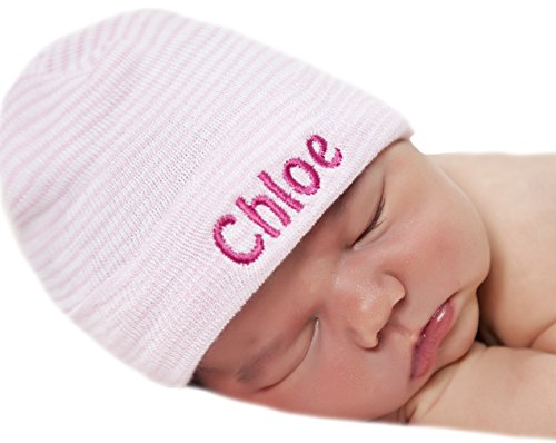 (Melondipity Pink & White Striped Personalized Newborn GIRL hospital hat)