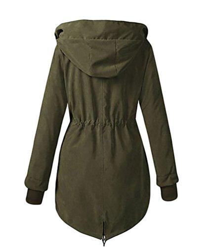 Con Cappotto Verde Cerui Cappuccio Spessore Donna Inverno Caldo Fxq17X