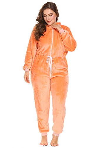 IN'VOLAND Womens Onesie Pajamas Adult Hooded Jumpsuit Non Footed One Piece Pajamas -