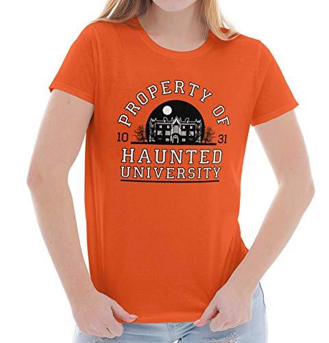 Brisco Brands Haunted University College Halloween Scary Ladies T Shirt Orange ()