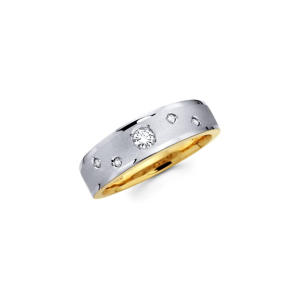14K Yellow and White 2 Two Tone Gold Round cut Diamond Mens Wedding Band Ring (0.21 CTW., G H Color, SI1 2 Clarity)   Size 8