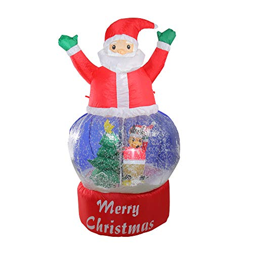Northlight 4.75' Inflatable Santa Claus Snow Globe Lighted Christmas Outdoor Decoration (Outdoor Santa Decorations Claus)