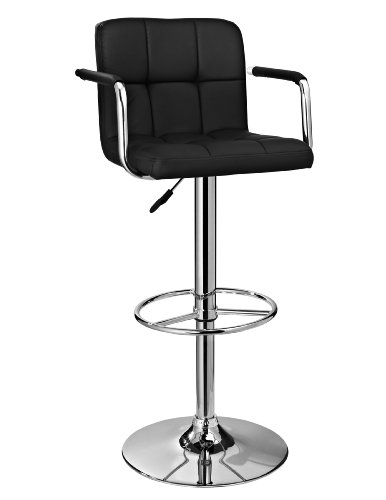 Powell Furniture Quilted Barstool, Black/Chrome Review