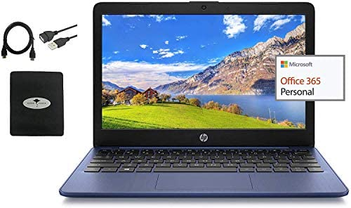 """2021 HP 11.6"""" HD Laptop for Student and Home use, Intel Celeron N4000, 4GB Memory, 32GB Storage, Webcam, WiFi, 1 Year Office 365, HDMI, (Google Classroom or Zoom Compatible) w/ GM Accessories WeeklyReviewer"""