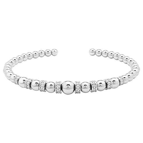 - Brilliant Designers 1/4 CTTW Diamond (IJ/I2I3) & Sterling Silver Ball Bead Open Bracelet 7