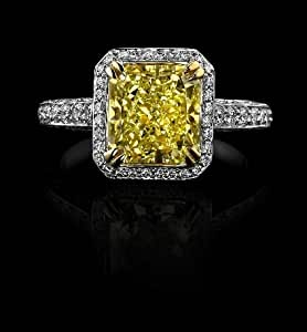 2.50 Ct Intense Yellow Cushion Diamond Engagement Ring