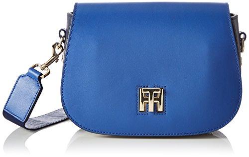 Tommy Hilfiger - Th Twist Saddle Bag Leather Hella Stripe, Bolsos bandolera Mujer, Blau (Olympian Blue), 7x16x22.5 cm (B x H T)