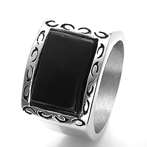 Beydodo Jewelry Titanium Rings for Men, Black Vintage Pattern Stone Ring Bands Size 12 Mens Ring Fashion