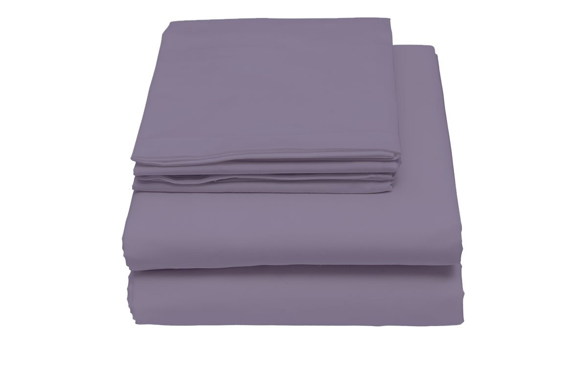 600 Thread Count Sheet Set, 100% Cotton Sateen by Lushulux (Purple, Queen)